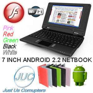 BLACK 7 INCH WIFI Mini Laptop Netbook Computer ANDROID 2.2