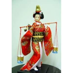 Asian Japanese Geisha Girl Doll Kimino Silk Fabric Home