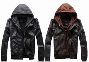Mens High quality Soft Warm Faux Leather Coat Jacket