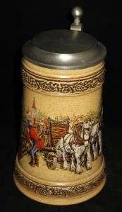 Gerz Lidded Ceramic Beer Stein, Pewter Lid, Beer Keg |
