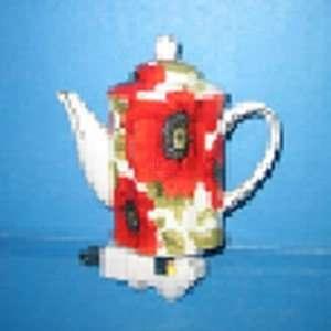 Teapot Night Light with Red Poppy Flower Motif
