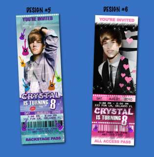 JUSTIN BIEBER BIRTHDAY TICKET INVITATION CUSTOM UPRINT