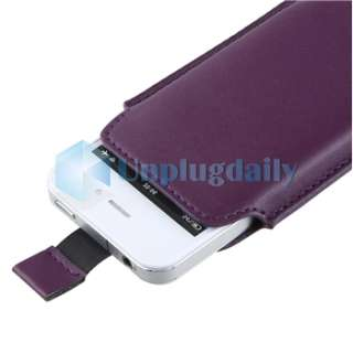 White +Purple Leather Carbon Fibre Pouch Skin Case For iPhone 4 4S