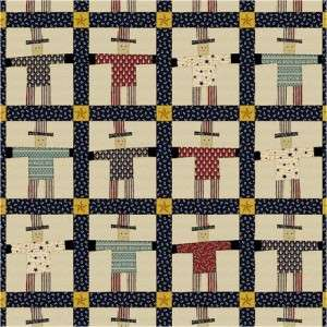 Uncle Sam Quilt Panel 1800 Civil War Repro Fabric