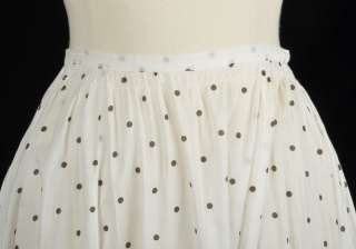 Antique Edwardian Gibson Girl White Cotton Polka Dot Summer Skirt XS