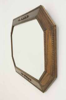 Antique Scottish Oak Octagonal Bevelled Wall Mirror