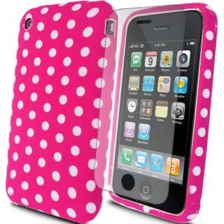 HOT PINK SILICONE RUBBER POLKA DOTS FOR APPLE IPHONE 3G 3GS CASE