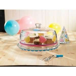 Cupcake Glass Pedestal Cake Plate with Dome Lid