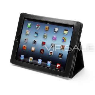 APPLE IPAD 3 BLACK LEATHER CASE COVER WITH STAND + SCREEN PROTECTOR