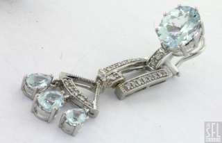 HEAVY 14K WHITE GOLD 8.52CT DIAMOND AQUAMARINE CHANDELIER DANGLE