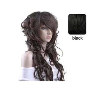 Women Stylish Long Wig Hair Puffy Curl Full Wigs Dark