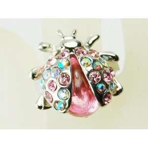 Enamel Body Silver Tone Crystal Rhinestone Ladybug Bug Ring Jewelry