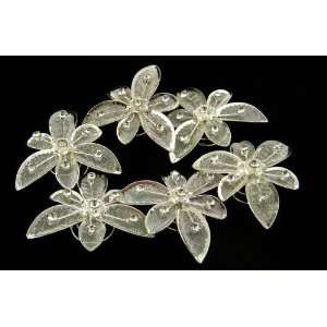 Silvery Flower With Crystal Hair Twist (Pack of 6)