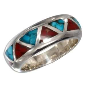 Shaped Turquoise and Coral Inlay Wedding Band (size 04).: Jewelry