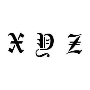 Tattoo Stencil   Old English Font Small X Z   #316: Health