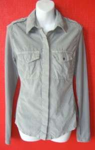 JAMES PERSE gray corduroy & jersey STRETCH military SHIRT $175 NWT