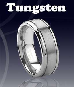 Tungsten Carbide Mens Band Ring With Brushed Finish men wedding ring