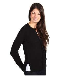 Juicy Couture Black Rib Ruffle Cardigan Sweater NWT L