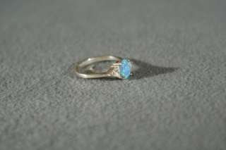 ANTIQUE STERLING SILVER OVAL OPAL TRILLION WHITE TOPAZ BOLD REGAL