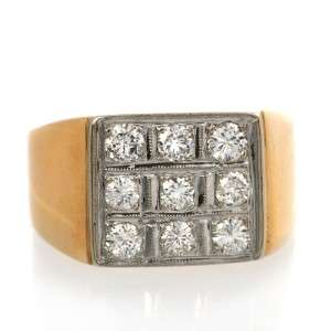 Estate Vintage 14k Yellow Gold Mens 1 CT Diamond Ring
