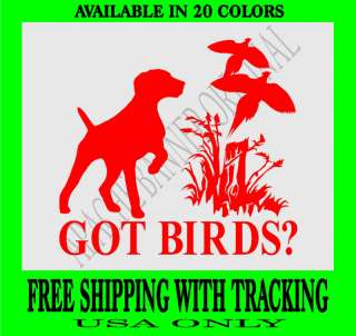 WEIMARANER DOG DECAL PHEASANT HUNTING DECAL Bird 1357GB