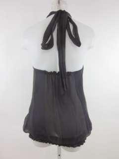 You are bidding on a SAMANTHA TREACY Navy Gray Silk Halter Top Blouse