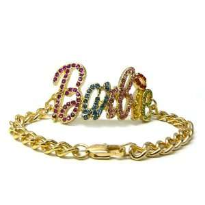 Iced Out NICKI MINAJ BARBIE Chain Bracelet Gold/Multi