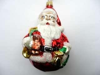 SANTA CLAUS GIFTS & WREATH GERMAN BLOWN GLASS CHRISTMAS ORNAMENT
