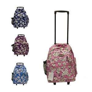 NEW 18 LARGE FLORAL WHEELED ROLLING BACKPACK 4 COLORS