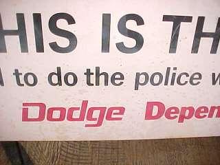 Vintage 1972 Dodge Police car top sign/display/chrysler/mopar/1960s