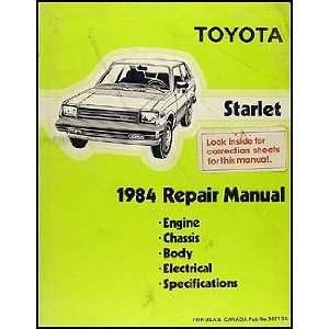 1984 Toyota Starlet Repair Shop Manual Original Toyota Books