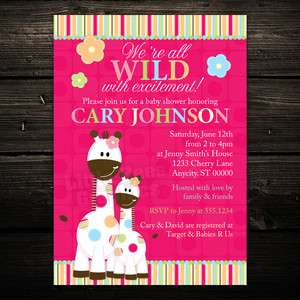 20 Cute Gumdrop Giraffe Jungle Baby Shower or Birthday Invitations