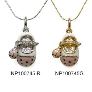 darling enamel baby shoes charm pendants drop necklace a lovely gift