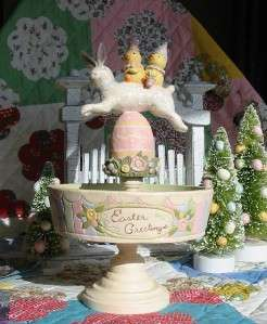 Bethany Lowe Easter Bunny Greg Guedel Fancy Candy Dish Paper Mache