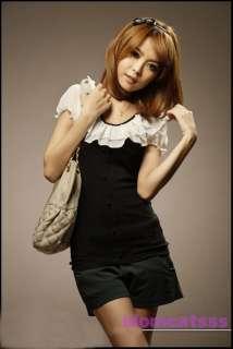 Black/Green Japan Ladies Cute Lace Top Shirt US sz S