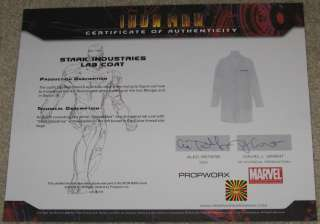 IRON MAN Original Prop TONY STARK Movie Costume Lab Coat/Outfit
