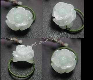 Very beautiful jade rose flower ring of US size 7, 7.5, 8. The center