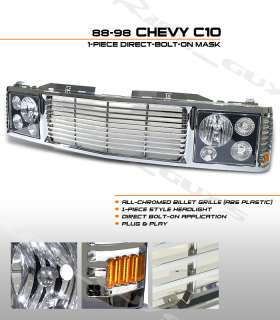 NEW CHEVY TRUCK RANGE ROVER STYLE GRILLE+HEADLIGHTS KIT