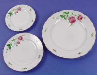 ROSE Porcelain Bread Butter, Salad & Dinner Plates, Japan
