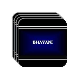 Personal Name Gift   BHAVANI Set of 4 Mini Mousepad Coasters (black