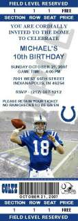 12 Indianapolis Colts Birthday Ticket Invitations