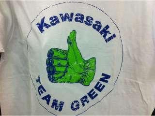 Kawasaki Vintage Team Green Thumbs Up T Shirt Grey