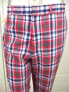 60s THOMSON Red Blue Green Tartan Plaid WILD CRAZY Golf Pants 38 30 L