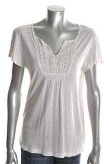 Charter Club NEW Paradise Lost Casual Shirt White Crochet Sale Misses