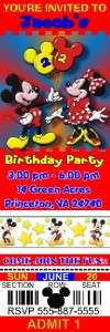 MICKEY & MINNIE MOUSE BIRTHDAY PARTY TICKET INVITATIONS