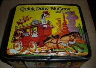 1961 HUCKLEBERRY HOUND & QUICK DRAW MCGRAW METAL LUNCHBOX YOGI BEAR