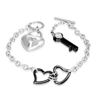 Stainless Steel Double Love Heart Padlock Key Womens Toggle Clasp