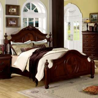 Solid Wood Cherry Finish English Style Bed Frame Set