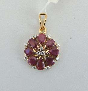 14 K SOLID GOLD NATURAL RUBY & DIAMOND GEMSTONE PENDANT