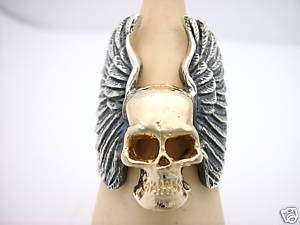 Sterling Silver + 10 K Gold Skull with Angel Wings Ring
